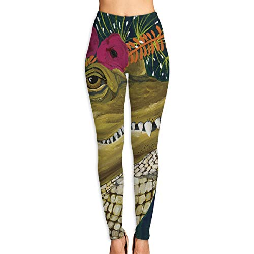 Summermf Cartoon Characters Flower Crocodile Illustration Womens Printed Leggings Yoga Pants Workout Stretchy Tights Pants White
