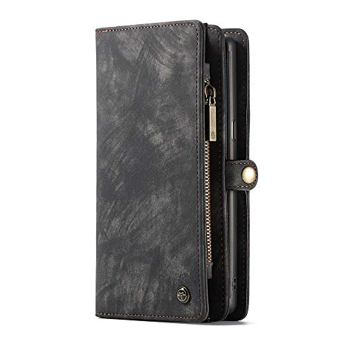 ZARO Wallet Case for Samsung Galaxy Note 8 with Card Holder Phone Purse, Detachable Magnetic Portable Folio Flip Cover PU Leather Pouch Zipper Bag Protective Shell for Girls Women Men-Black