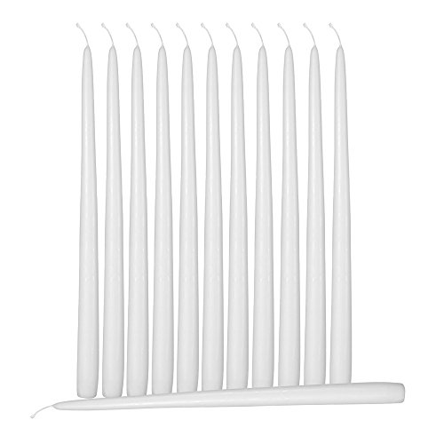 Hyoola 12 Pack Tall Taper Candles - 10 Inch White Dripless, Unscented Dinner Candle - Paraffin Wax with Cotton Wicks - 8 Hour Burn Time ()