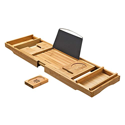 SONGMICS Luxury Extendable Bathtub Caddy Tray, Tub Shelf for Reading with Wine Holder, One or Two Person Bath and Bed Tray, with Free Soap Tray Natural Bamboo UBCB88Y from SONGMICS