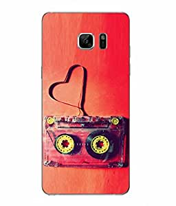 Snazzy Cassette Printed Red Hard Back Cover For Samsung Galaxy Note 7