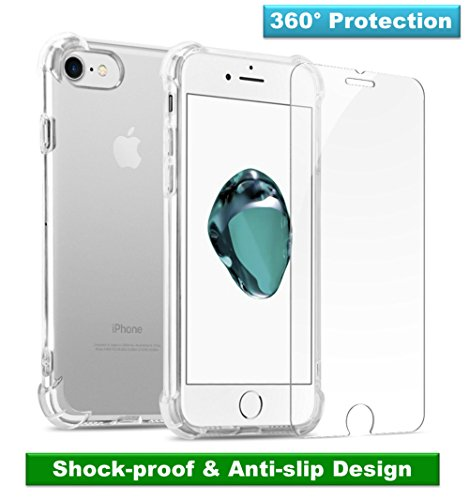 GuaGua Case Compatible with iPhone 7, iPhone 8 and Tempered Glass | 360 Protection - Shock Absorption Bumper | Soft TPU Cover Skin Cases for iphone 7/8 | Built-in Screen Protector Clear by GuaGua (Image #8)