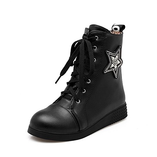 Solid Black Low Round Soft Women's Low Allhqfashion Boots top Closed Material Heels Toe vgCBxw71n