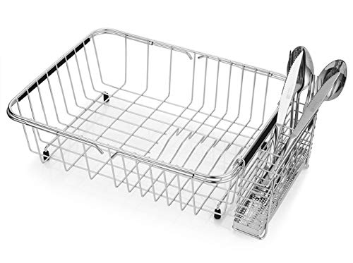 Adjustable Dish Drying Rack, 304 Stainless Steel Dish Drainer, On-Counter