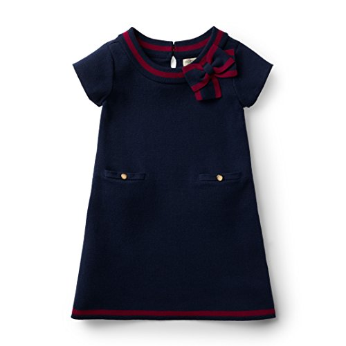 Hope & Henry Girls' Navy Milano Stitch Sweater Dress Made with Organic Cotton by Hope & Henry
