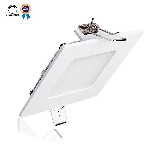 B-right 6W 4-inch Dimmable Square LED Panel Light Ultra-thin 480lm 5000K Cool White LED Recessed Ceiling Lights for Home Office Commercial Lighting
