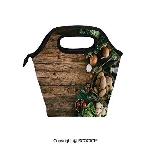 (Insulation portable lunch box bag Various Vegetables on Rustic Wooden Table Onions Potatoes Zucchini Cherry Tomatoes Decorative Soft Fabric lunch bag Mummy bag.)