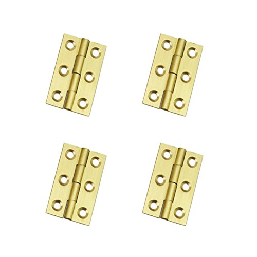 Whale GoGo 4 Pieces 1 mm Thick Brass Hinges Jewelry Gift Wooden Box Hinges Cabinet Hardware Accessories (23mm x 38mm)