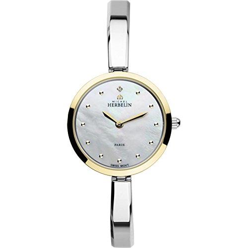 Michel Herbelin Women's Scandinave 26.5mm Steel Bracelet Gold Plated Case Quartz MOP Dial Watch 17401/BT19