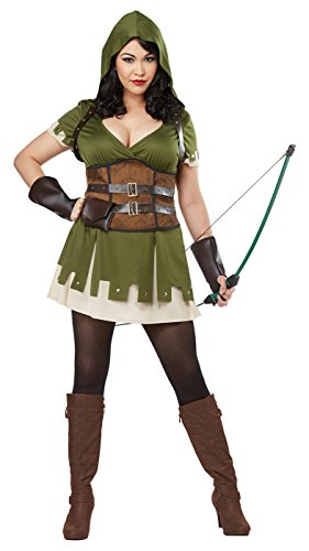 California Costumes Women's Plus Size Lady Robin Hood Adult Woman Costume, Olive/Brown, 1X (Robin Women Costume)