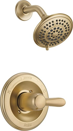 Delta Faucet Lahara 14 Series Single-Function Shower Trim Kit with 5-Spray Touch-Clean Shower Head, Champagne Bronze T14238-CZ (Valve Not - Balanced Pressure Brass Polished Faucet