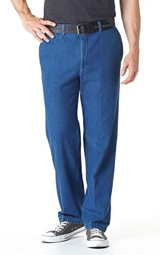 Haggar Men's Work To Weekend Plain Front Denim Pants - Expandable Waistband, Stonewash, 38X32