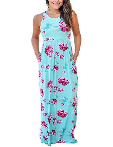 SUNNOE Women's Summer Floral Printed Sleeveless Scoop Neck Empire Waist Beach Maxi Long Dress Vacation Dress Floor Length (X-Large, Teal-Sleeveless) ()