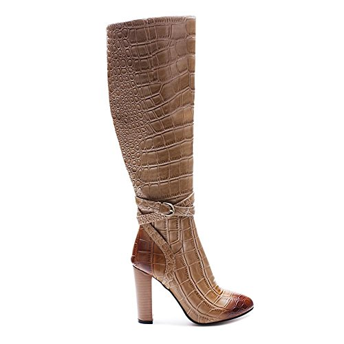 Fall Round Zapatos PU Brown Winter Chunky Elobaby Boots Toe Casual de Comfort Heel Mujer Para Marrón pAwggXvq