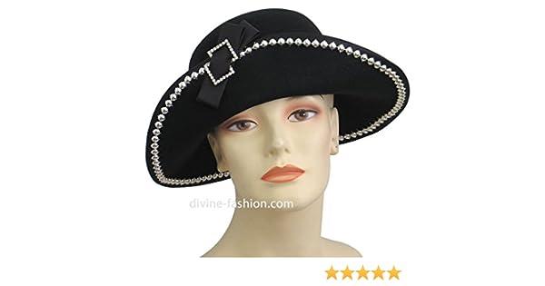 Ms Divine Women s Wool Church Hats  0108 (Black) at Amazon Women s Clothing  store  fdc57726c4f