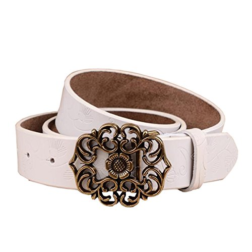 """Normcorer Genuine Belt- Floral Embossed- Hollow-Out Buckle- Western Style For Jeans And Dress - Free Hole Puncher (45.28"""" long, White)"""