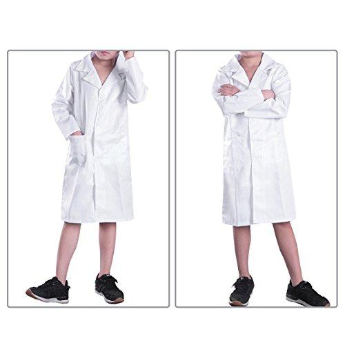 iiniim Kids Girls' Boys' White Lab Coat Long Sleeve Doctor Uniform For Scientist Halloween Role Play Costume