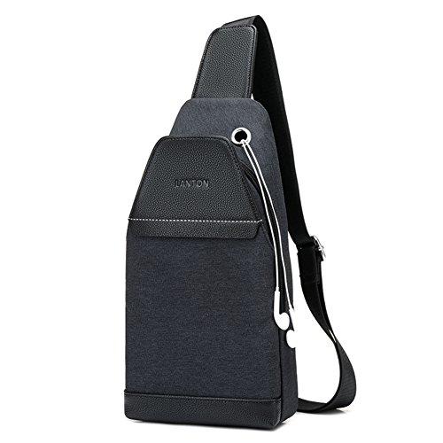 Bolso pecho,Lona de la vendimia Bodycross Mochila bandolera con puerto de carga usb Pequeña Mensajero Laptop Trabajo Para viajar-C