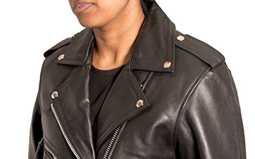El cuero retro de las mujeres enrarece la chaqueta envuelta estilo retro del motorista de Brando de Brando. Disponible en piel de vaca y cuero de Nappa.