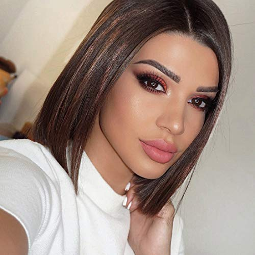ZANA Short Bob Human Hair Lace Front Wigs Brazilian Virgin Glueless Silk Straight Hair Wigs with Baby Hair for Black Women Highlight Color