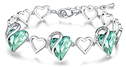 Heart Bracelet with Swarovski Crystal Birthstone Jewelry