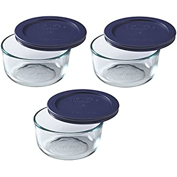 Pyrex Storage Round Dish with Dark Blue Plastic Cover, Clear (2-Cup pack of 3)
