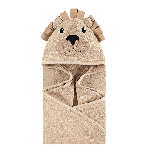 Hudson Baby Unisex Baby Animal Face Hooded Towel, Lion 1-Pack, One Size