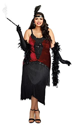 Million Dollar Baby Halloween Costumes (Dreamgirl Women's Luxe Plus-Size Million Dollar Baby Flapper Costume Dress, Red/Black,)