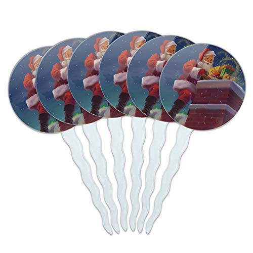 (GRAPHICS & MORE Christmas Holiday Santa Going Down The Chimney Cupcake Picks Toppers Decoration Set of 6)