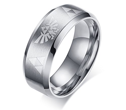 VNOX 8MM Stainless Steel The Legend of Zelda Triforce Ring for Men Women,Silver,Size 5 ()