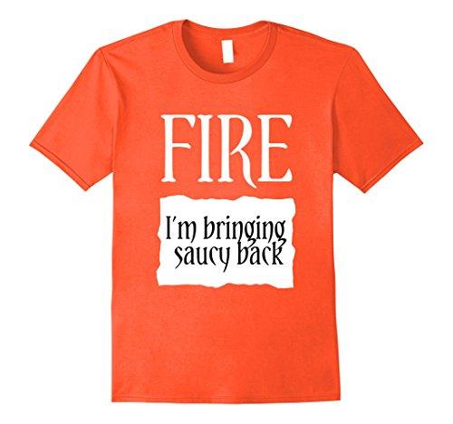 Fire Hot Sauce Costume (Mens Fire Hot Sauce Halloween Costume T-Shirt Taco Packet Tee Medium Orange)