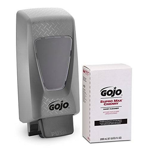 GOJO SUPRO MAX Cherry Hand Cleaner Starter Kit, Cherry Fragrance, 1 – 2000 mL Hand Cleaner Refill + 1 GOJO PRO TDX Dispenser - 7282-D2 ()