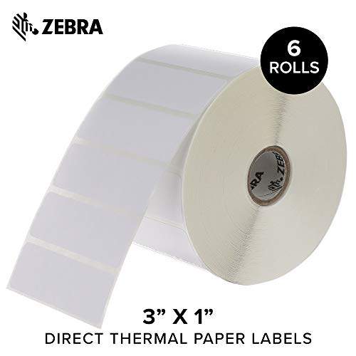 Z-perform Thermal Barcode 2000d Labels - Zebra - 3 x 1 in Direct Thermal Paper Labels, Z-Perform 2000D Permanent Adhesive Shipping Labels, Zebra Desktop Printer Compatible, 1 in Core - 6 Rolls
