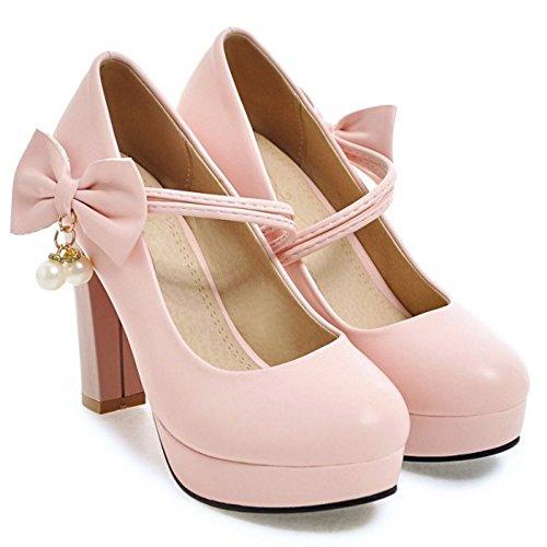 COOLCEPT Blocco Dolce Donne Cinturino Alto con Scarpe Pink Tacco Bowknot pwqrpH4