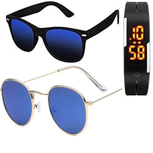 733ee73c5 SHEOMY SUNGLASSES COMBO - BLUE MERCURY WAYFARER SUNGLASSES AND WAYFARER BLUE  MERCURY SUNGLASSES WITH 2 BOXES Best Online Gifts: Amazon.in: Clothing & ...