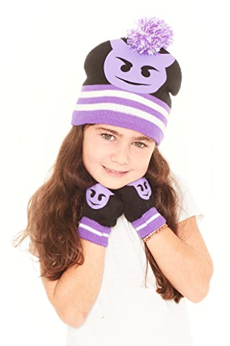 S.W.A.K Girls Winter Smiley Knitted Beanie Hat and Gloves Set Black/Purple - Devil - One - Fashion Matchy Matchy