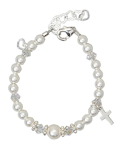 Crystal Dream Christening White Swarovski Simulated Pearls and Crystals, Sterling (Flowers Pattern Charm Bracelet)