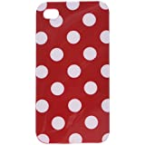 niceEshop Red Polka Dot Flex Gel Case for Iphone 4 & 4S