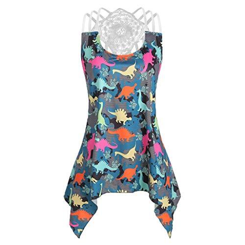 Tops for Women,Womens Blouses Bandages Sleeveless Vest Top Crochet Panel Dinosaur Print Tank Tops(XXXXXL,Blue)