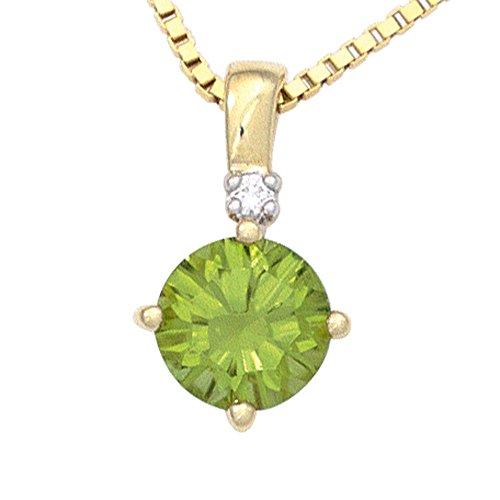 JOBO pendentif en or jaune 585 1 vert péridot 1 diamant brillant