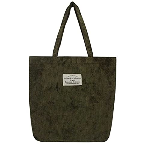 ZZ Sanity Women Retro Shoulder Bag Corduroy Casual Tote Bag (Army green) - Corduroy Womens Shoulder Bag