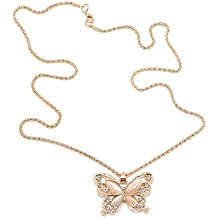 Rose Gold Acrylic Crystal Butterfly Necklaces Swan Fashion Long Necklace Pendant Fine Jewelry Women