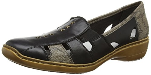 41385 Mocasines 01 Negro Rieker Mujer Ow06ndxq
