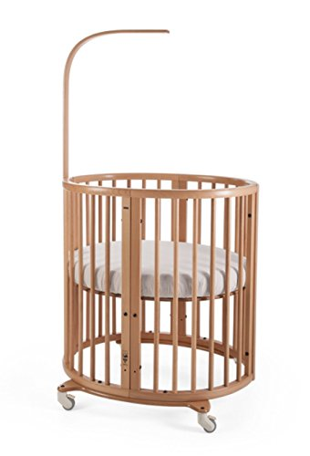 Stokke Sleepi Natural Adjustable Oval Mini Baby Crib Bundle With Mattress