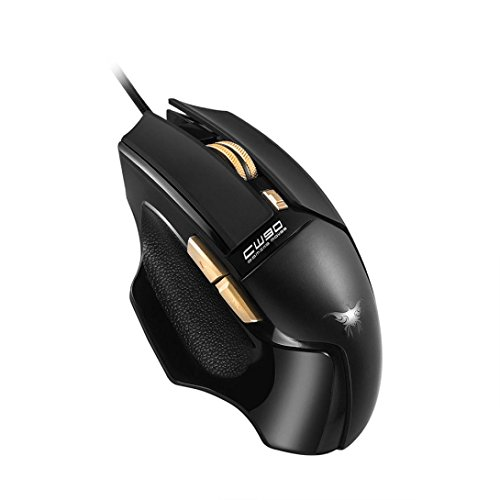 Cywulin 3800DPI 4 Adjustable LeveL 6 Button LED backlignts Optical Wired Professional Ergonomic Design Gaming Mouse for PC,Laptop, Notebook, Desktop, Tablet by Combaterwing