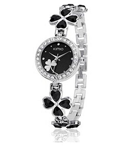 Ladies Quartz Bracelet Wristwatch Lucky Grass Flower Diamond Wrist Watch Daily Waterproof Stainless Steel (black)