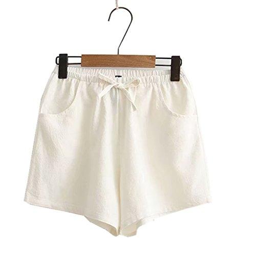 elastici per grandi per Pantaloncini l'estate libero casual donna tempo il Oudan da Bianca Pantaloncini wqtC88U