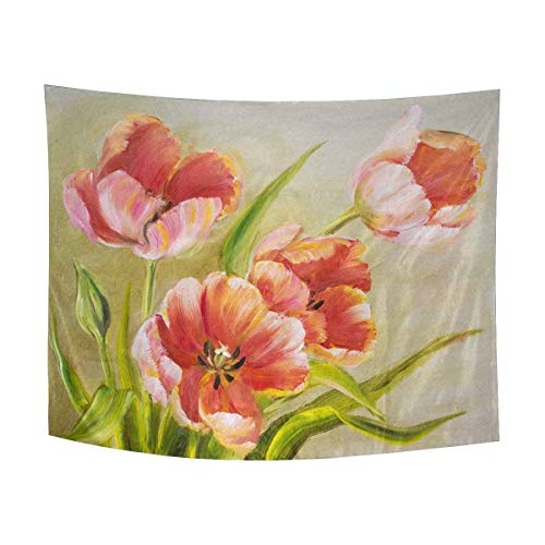 INTERESTPRINT Vintage Red Tulips Floral Oil Painting Tapestry Wall Hanging Art Sets, Cotton Linen Tapestries Modern Home Decor Wall Art, 80W X 60L Inch ()