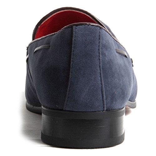 auf Heel Herren gefüttert Stitch Slip Deko Western Leder Schuhe Wildleder Schlupfschuhe Blau 4575w