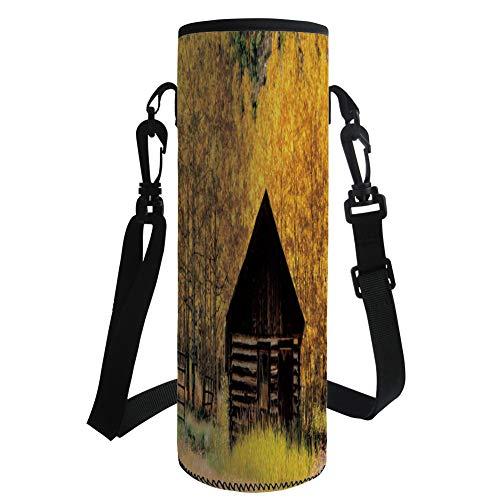 Aspen Dropper - Water Bottle Sleeve Neoprene Bottle Cover,Autumn Decor,Abandoned Wooden Farmhouse in Fall Aspen Trees Rural Pastoral Nature Scene,Brown Yellow,Fit for Most of Water Bottles
